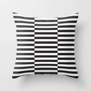 "Society6 Ikea Stockholm Rug Pattern - Black Stripe Black Couch Throw Pillow by Dizzy Moments - Cover (16"" x 16"") with pillow insert - Indoor Pillow"