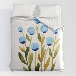"""Society6 Simple Watercolor Flowers - Blue And Sap Green Comforters by Angela Minca - King: 104"""" x 88"""" - Microfiber Polyester"""