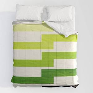 """Society6 Minimalist Mid Century Modern Sap Green Watercolor Painting Lightning Bolt Zig Zag Pattern With Blac Comforters by Enshape - King: 104"""" x 88"""" - Microf"""