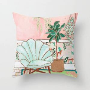 """Society6 Art Deco Velvet Mint Shell Chair In Jungle Room With Tigers Couch Throw Pillow by Lara Lee Meintjes - Cover (16"""" x 16"""") with pillow insert - Indoor Pi"""