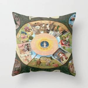 """Society6 Hieronymus Bosch The Seven Deadly Sins And The Four Last Things Couch Throw Pillow by Colorfuldesigns - Cover (16"""" x 16"""") with pillow insert - Indoor"""