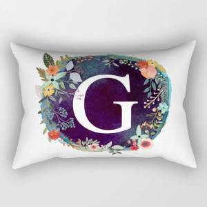 """Society6 Personalized Monogram Initial Letter G Floral Wreath Artwork Rectangular Pillow by Aba2life - Large (25.5"""" x 18"""")"""