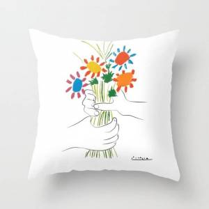 """Society6 Picasso Le Bouquet Colorful Floral Positive Wall Art, Anti War Print, Room Decor, Picasso Couch Throw Pillow by Mini Mons - Cover (16"""" x 16"""") with pil"""