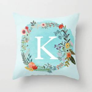 "Society6 Personalized Monogram Initial Letter K Blue Watercolor Flower Wreath Artwork Couch Throw Pillow by Aba2life - Cover (16"" x 16"") with pillow insert - I"