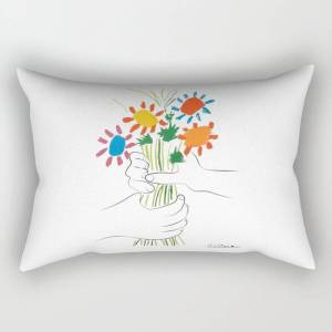 "Society6 Picasso Le Bouquet Colorful Floral Positive Wall Art, Anti War Print, Room Decor, Picasso Rectangular Pillow by Mini Mons - Large (25.5"" x 18"")"