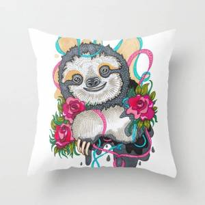 """Society6 Happy Sloth Couch Throw Pillow by Mon Klicz - Cover (16"""" x 16"""") with pillow insert - Indoor Pillow"""
