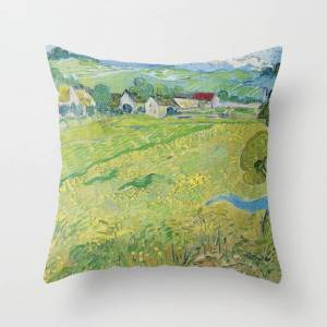 """Society6 Vincent Van Gogh View Of Vessenots Near Auvers Couch Throw Pillow by Art Gallery - Cover (16"""" x 16"""") with pillow insert - Indoor Pillow"""