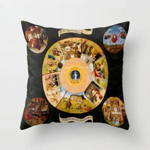 """Society6 The Seven Deadly Sins And The Four Last Things Couch Throw Pillow by Purevintagelove - Cover (16"""" x 16"""") with pillow insert - Indoor Pillow"""