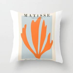 """Society6 Henri Matisse The Cut Outs Blue And Orange Contemporary, Modern Minimal Art Couch Throw Pillow by Mini Mons - Cover (16"""" x 16"""") with pillow insert - I"""