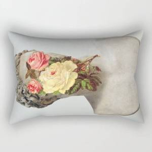 """Society6 Bust With Flowers Rectangular Pillow by Chad Wys - Small (17"""" x 12"""")"""