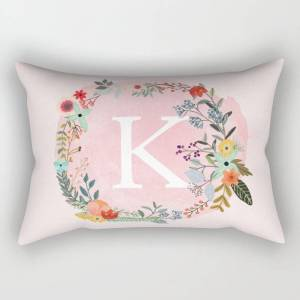 """Society6 Flower Wreath With Personalized Monogram Initial Letter K On Pink Watercolor Paper Texture Artwork Rectangular Pillow by Aba2life - Large (25.5"""" x 18"""""""