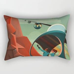 """Society6 Spacex Mars Tourism Poster / Olympus Mons Rectangular Pillow by Richard Deen - Large (25.5"""" x 18"""")"""