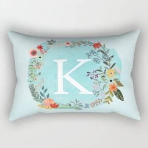 "Society6 Personalized Monogram Initial Letter K Blue Watercolor Flower Wreath Artwork Rectangular Pillow by Aba2life - Small (17"" x 12"")"