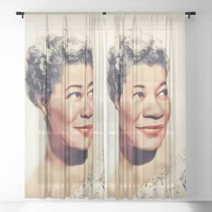 """Society6 Ella Fitzgerald, Music Legend Sheer Curtains & Drapes by Serpent Films - 50"""" x 84"""" - Set of Two"""