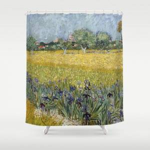 """Society6 Field With Flowers Near Arles By Vincent Van Gogh Bathroom Shower Curtain by Palazzo Art Gallery - 71"""" by 74"""""""