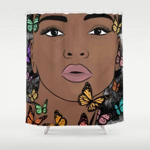 """Society6 You Give Me Butterflies Bathroom Shower Curtain by The King Gallery - 71"""" by 74"""""""