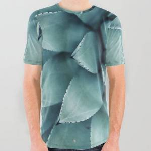 Society6 Aloe Green Agave All Over Graphic Tee by Chilling Nation - Medium