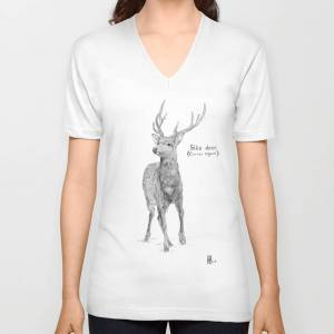 Society6 Sika Deer Unisex V-Neck T-shirt by lou_s_naturalist_drawings
