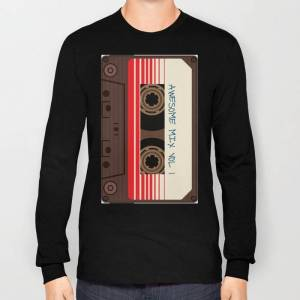Society6 Awesome Mix Vol 1 New Hot 2018 Cd Love Cute Sticker Cover Iphone Pattern Casate Art Support Design Long Sleeve T-shirt by Ams95 - Black - MEDIUM - Lon