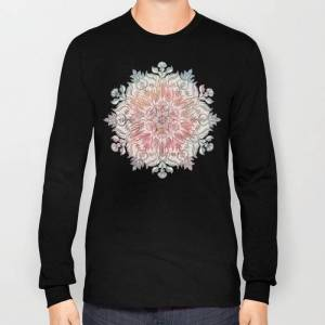 Society6 Autumn Spice Mandala In Coral, Cream And Rose Long Sleeve T-shirt by Micklyn - Black - MEDIUM - Long Sleeve T-shirt