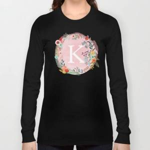 Society6 Flower Wreath With Personalized Monogram Initial Letter K On Pink Watercolor Paper Texture Artwork Long Sleeve T-shirt by Aba2life - Black - MEDIUM -