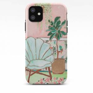 Society6 Art Deco Velvet Mint Shell Chair In Jungle Room With Tigers Iphone Case by Lara Lee Meintjes - iPhone 11 - Tough Case