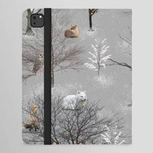 "Society6 Owls And Foxes In Snowy Trees Ipad Folio Case by Guy Blank - iPad Pro 12.9"" Folio"