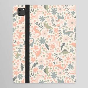 """Society6 Floral Burst Of Dinosaurs And Unicorns In Pink + Green Ipad Folio Case by Lathe & Quill - iPad Pro 12.9"""" Folio"""