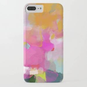 Society6 Pink Sun Clouds Abstract Iphone Case by Lalunetricotee Art Paintings - iPhone 8 Plus - Slim Case