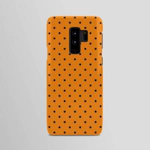 Society6 Samsung Galaxy S9 Plus - Slim Case   Small Black Polka Dots On Orange Background Android Cases by Pink Cloud
