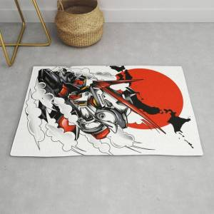 Society6 Astray Red Frame Bust F-12 Modern Throw Rug by Syndicatestudio - 2' x 3'