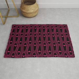 Society6 Hanging Til' Halloween - Red Modern Throw Rug by The Art Of Noah K - 2' x 3'