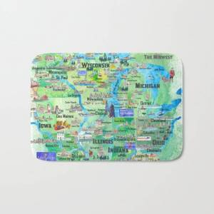 """Society6 Usa Midwest States Travel Map Mn Wi Mi Ia Ky Il In Oh Mo With_highlights Bath Mat by Artshop77 - 17"""" x 24"""""""