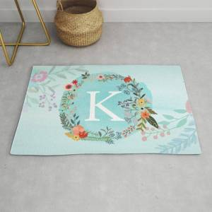 Society6 Personalized Monogram Initial Letter K Blue Watercolor Flower Wreath Artwork Modern Throw Rug by Aba2life - 2' x 3'