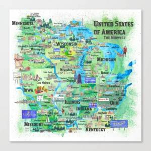 Society6 Usa Midwest States Travel Map Mn Wi Mi Ia Ky Il In Oh Mo With_highlights Canvas Print by Artshop77 - LARGE