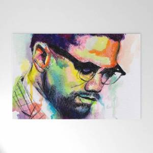 """Society6 Malcolm X Outdoor Welcome Mat by Morgan Overton   Mo In The Studio - 30"""" x 20"""""""
