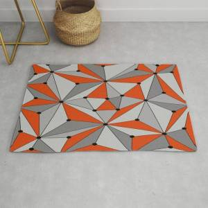 Society6 Abstract Geometric Pattern - Orange And Gray. Modern Throw Rug by K.s Art - 2' x 3'