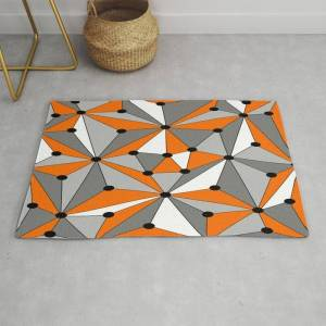 Society6 Abstract Geometric Pattern - Orange, Gray, Black And White. Modern Throw Rug by K.s Art - 2' x 3'