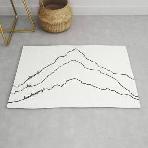 Society6 Tallest Mountains In The World B&w / Mt Everest K2 Kanchenjunga / Minimalist Line Drawing Art Print Modern Throw Rug by 88mountainstate - 2' x 3'