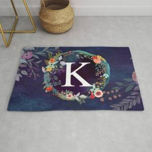 Society6 Personalized Monogram Initial Letter K Floral Wreath Artwork Modern Throw Rug by Aba2life - 2' x 3'