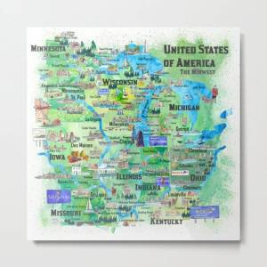 Society6 Usa Midwest States Travel Map Mn Wi Mi Ia Ky Il In Oh Mo With_highlights Metal Art Print by Artshop77 - LARGE