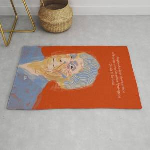 Society6 Ursula K. Le Guin Portrait + Quote Modern Throw Rug by Sb Art - 2' x 3'