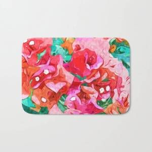 "Society6 Wild Bougainvillea, Bloom Summer Floral Bohemian Pop Of Color Botanical Jungle Watercolor Painting Bath Mat by 83 Orangesa(r) Art Shop - 17"" x 24"""