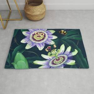 Society6 Passion Flower Vine Modern Throw Rug by Donna K Browning - 2' x 3'