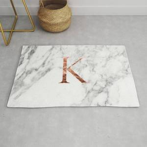 Society6 Monogram Rose Gold Marble K Modern Throw Rug by Marbleco - 2' x 3'