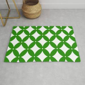 Society6 Abstract Pattern - Green And White. Modern Throw Rug by K.s Art - 2' x 3'
