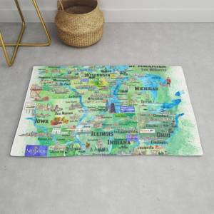 Society6 Usa Midwest States Travel Map Mn Wi Mi Ia Ky Il In Oh Mo With_highlights Modern Throw Rug by Artshop77 - 2' x 3'