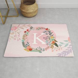 Society6 Flower Wreath With Personalized Monogram Initial Letter K On Pink Watercolor Paper Texture Artwork Modern Throw Rug by Aba2life - 2' x 3'