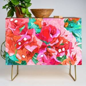 Society6 Wild Bougainvillea, Bloom Summer Floral Bohemian Pop Of Color Botanical Jungle Watercolor Painting Modern Credenza Cupboard by 83 Orangesa(r) Art Shop