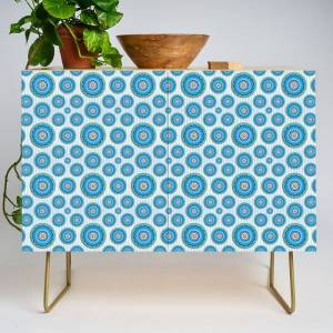 Society6 Soft Blue Mandala Pattern Modern Credenza Cupboard by Peter Gross - Gold - Birch